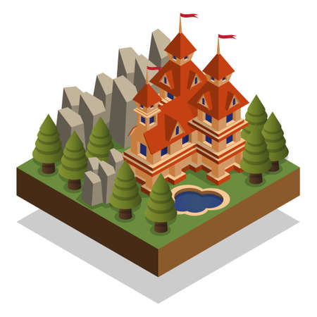 Castle Isometric. Isolated on white background. Vector illustration.