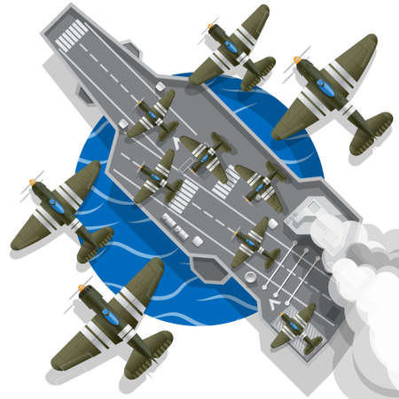 The historical aircraft carrier. View from above. Vector illustration.