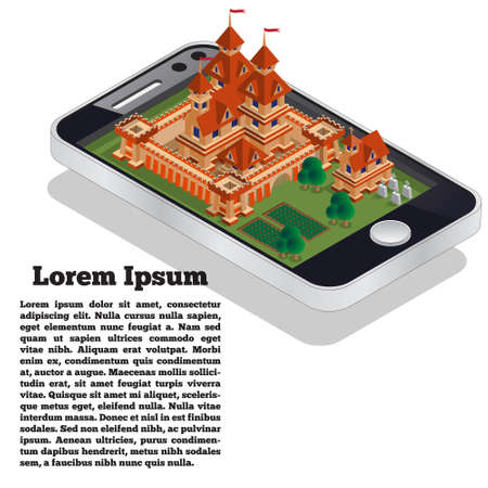 Medieval castle in the form of a mobile application. Isometric. Vector illustration.