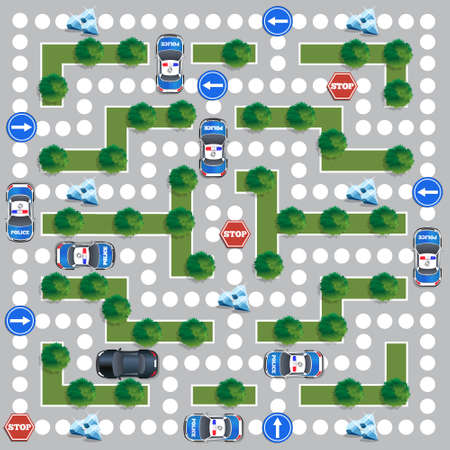 Board game about the police pursuit. Vector design for app game user interface.