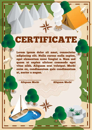 Certificate on the theme of tourism. Vector illustration.