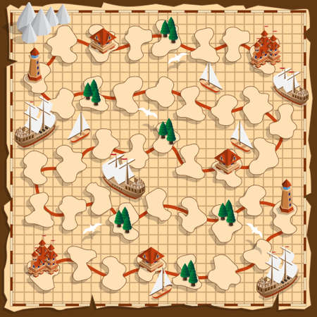 Board game on the old map. Isometric. Vector illustration. 版權商用圖片 - 150511814