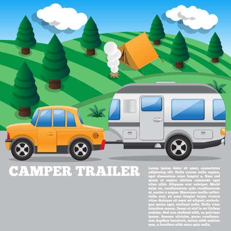 Camper trailer. Side view. Vector illustration.