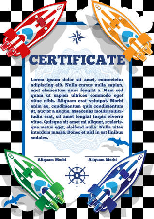 Children's certificate for theme of racing boats. Vector illustration.