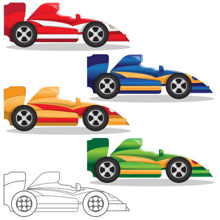 Set of sports cars. Isolated on white background. Side view. Vector illustration. Vector Illustratie