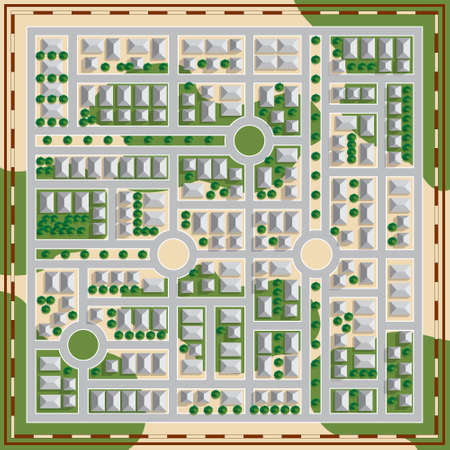 Plan of the city. View from above. Vector illustration.