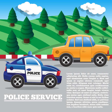 The police pursuit. Side view. Vector illustration.