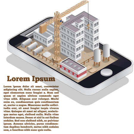 Building a house in the form of a mobile application. Isometry. Vector illustration.