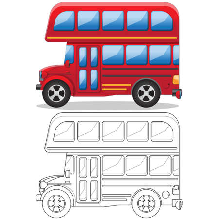 Double decker bus. Side view. Isolated on white background. Vector illustration.