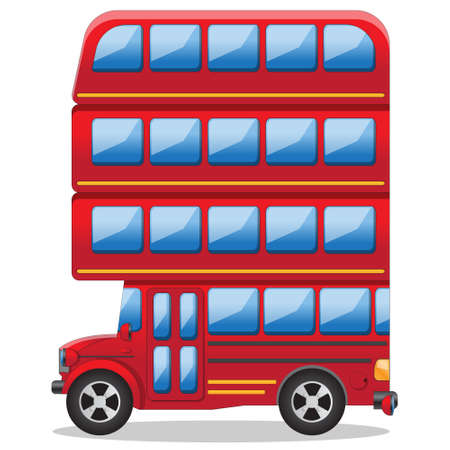 Futuristic multi-storey bus. Side view. Isolated on white background. Vector illustration.