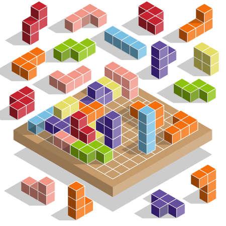 Tetris. Isometry. Vector illustration.