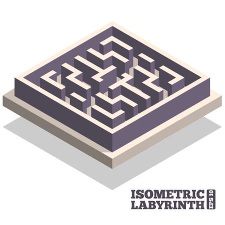 Labyrinth. Isometric. Vector illustration.