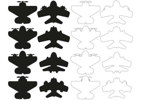 Silhouettes of aircraft. View from above. Isolated on white background. Vector illustration. Vecteurs