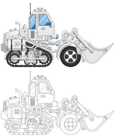 Track loader. Side view. Isolated on white background. Vector illustration.