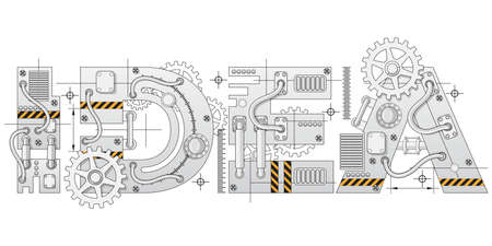 Industrial lettering. Technical drawing. Isolated on white background. Vector illustration. Vecteurs