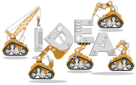 Industrial robots with letters. Isolated on white background. Vector illustration.