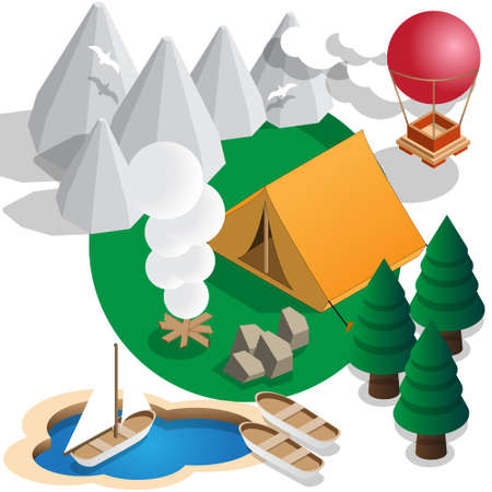 Tourism. Isometric Vector illustration.