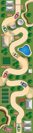 Rally. View from above. Vector illustration. 일러스트