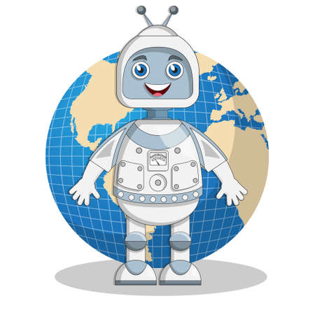 A robot on the background of the globe. Isolated on white background. Vector illustration. Ilustração