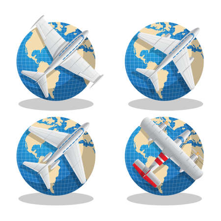 A set of aircraft on globes. Vector illustration. Isolated on white background.