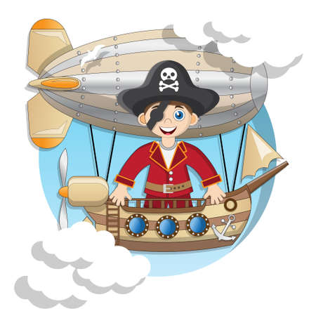 A pirate on an airship. Isolated on white background. Vector illustration. Vektorgrafik