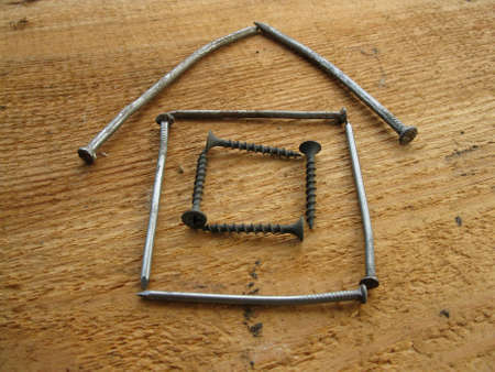 house with window from nails photo