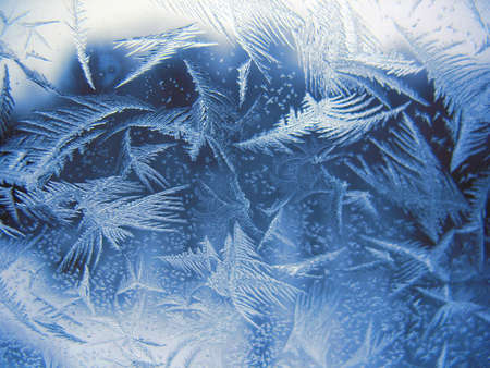 This is snow pattern on winter window photo