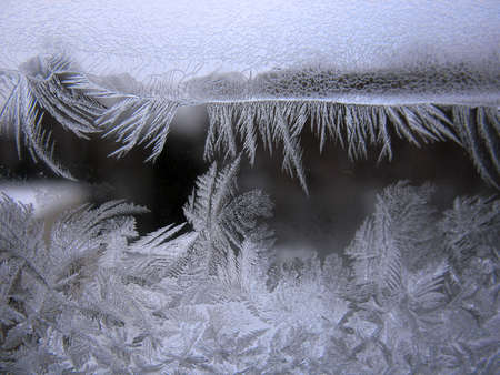 This is snow frosty pattern on winter window Stock Photo - 8953793