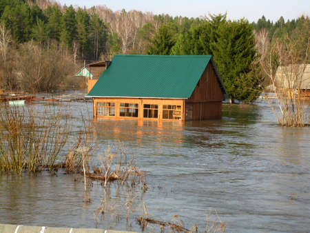 This is photo of spring flood in village                               Reklamní fotografie