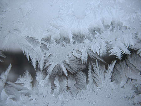 This is frosty pattern on glass winter window Reklamní fotografie