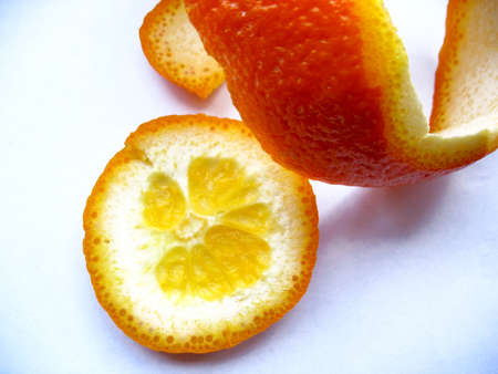 There are orange peel on white background