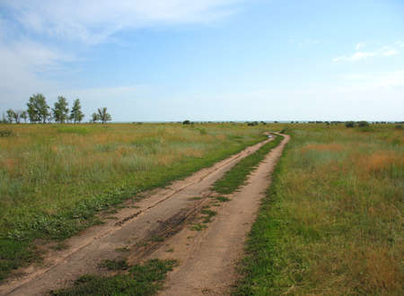 rural skyline: There are rural road, skyline and sky Stock Photo