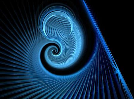 blue spiral: Abstract computer-generated blue spiral element  on black background