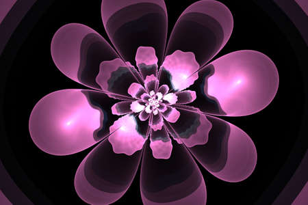 compute: Abstract flower compute generated image on black background