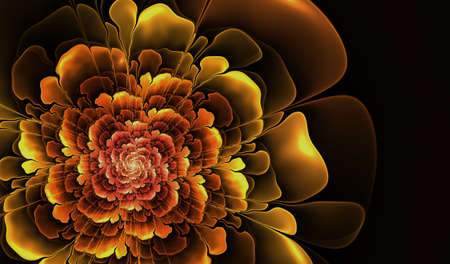 compute: Abstract flower compute -generated yellow image on black background