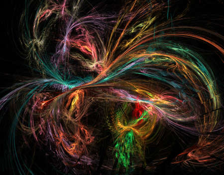 Abstract multicolored spiral fractal pattern. Computer generated graphics. Stock Photo - 77098067