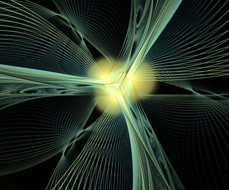 Abstract multycolored fractal  symmetrical composition on black background. Computer generated graphics.