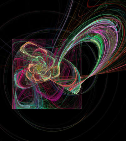 Abstract multicolored spiral fractal pattern. Computer generated graphics. Stock Photo