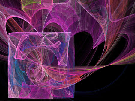 Abstract fractal computer generated composition with various geometrical shapes