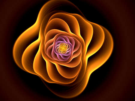Abstract flower compute generated image on black background