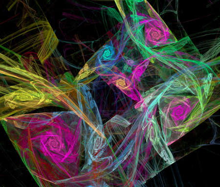 Abstract multicolored fractal pattern. Computer generated graphics. Stock Photo