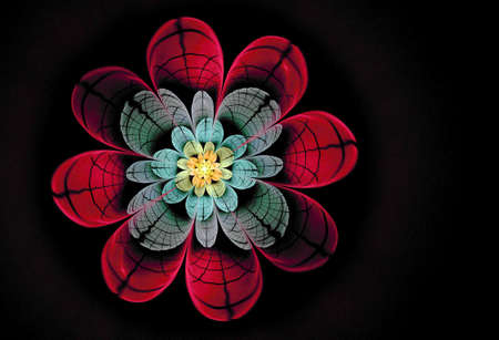 Abstract flower compute generated image on black background Stock Photo - 101111062