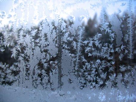 This is frosty pattern on glass winter window Banco de Imagens