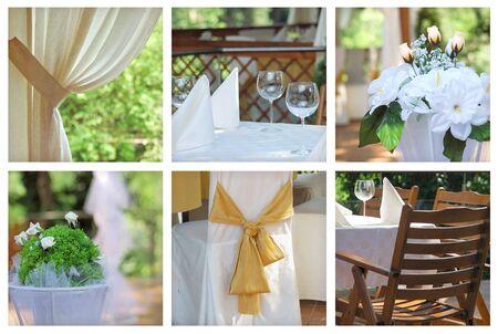 collage of stilysh decoration. catering background of wedding celebration photo