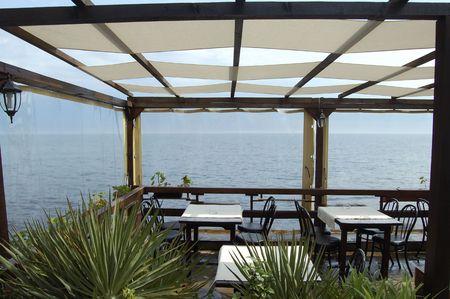 breakfast garden: sea view from cafe-restaurant terrace
