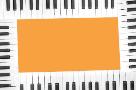 acoustically: frame of piano keys iolated. with clipping path