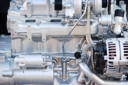 sheeny: powerful silvery-white machine engine