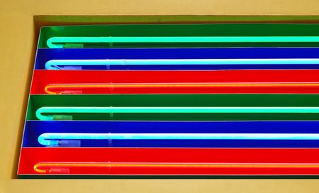 rainbow neon lighting  on club. Fluorescent lamp detail