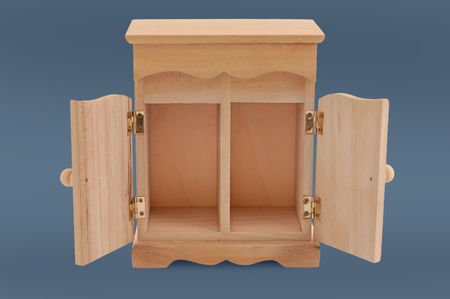 loophole: small wooden cupboard .with clipping path Stock Photo