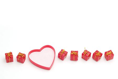 Valentines Day card, red gifts and r heart  photo